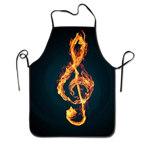 ZOMOY Mother Gift - Durable Washable Adjustable Kitchen Fire Music Notes DIY Overlock Chef Waiter Apron Cooking Baking Restaurant Unisex -