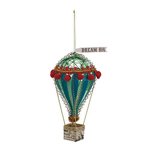 DEMDACO Hot Air Balloon Blue Green Stripe 7 x 4 Glass and Iron Metal Christmas Ornament