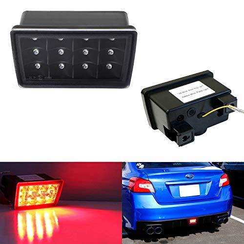 iJDMTOY Black w/Clear Lens LED Rear Foglamp Kit For 11-up Subaru WRX/STi Impreza XV Crosstrek, F1 Style Strobe Flashing Feature w/Wiring Harness & Mounting Bracket Included