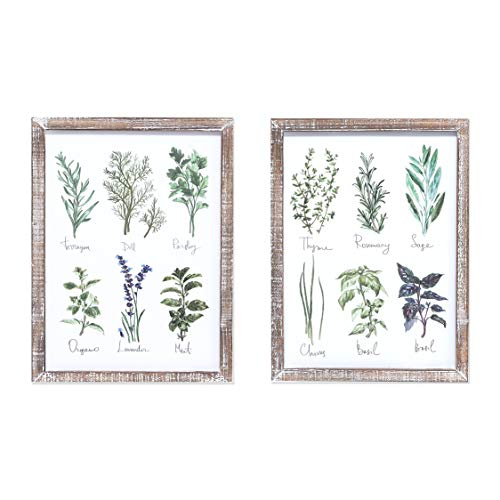 Barnyard Designs Vintage Herb and Spices Botanical Wood Framed Plaque Bundle