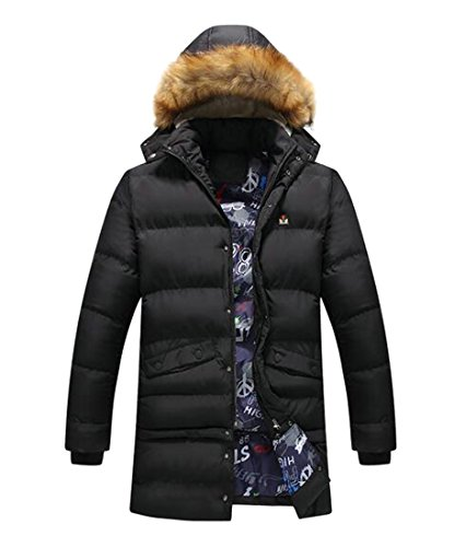 Hooded Button UK Up Men's Down Black Jacket Faux Coat Removable today Fur Winter RY1nq0q