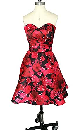 Dearta Women's A-Line Sweetheart Short Mini Floral Printed Homecoming Gown US 10