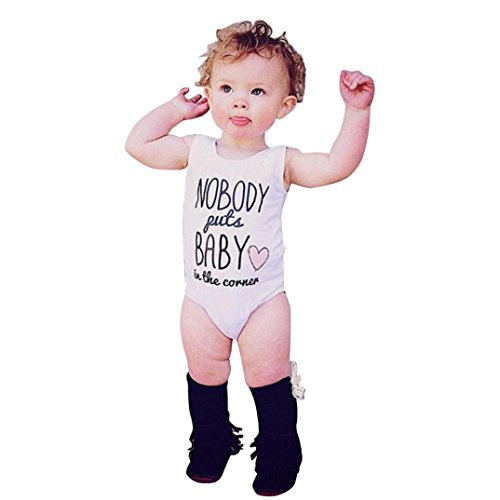 [Toddler Summer Letter Printing Romper Bodysuit Love Vest T-shirt (Age:6-12M, white )] (Funny Uniform Costumes)