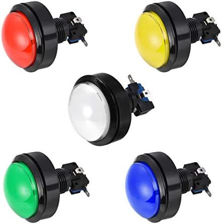 uxcell Game Push Button 33.5mm Round 12V LED Illuminated Push Button Switch with Micro Switch for Arcade Video Games Green 6pcs
