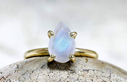 (Anemone Unique Custom Teardrop Gold Ring - 10mm/7mm Handmade Solid Moonstone Ring Sizes 3 To 12.5 With Engraving & Free Fancy Ring Box)