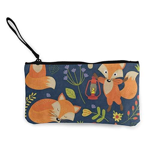 Canvas Coin Purse Cartoon Spring Mushroom Fox Flower Customs Zipper Pouch Wallet For Cash Bank Car ()