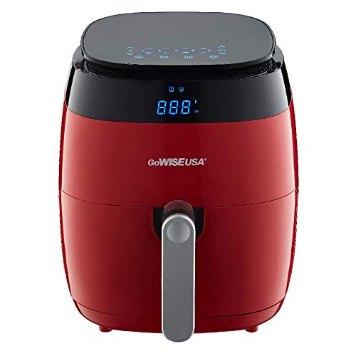 GoWISE USA 3.7-Quarts 8-in-1 Digital Touchscreen Air Fryer GW22826 + 50 Recipes for your Air Fryer Book (Red)