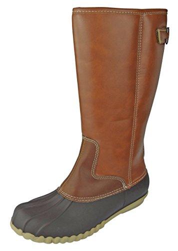 Outwoods Women's Autumn-4 Two-Tone Mid-Calf Zipper Duck Boot Rain Boot, Brown, 9 B(M) US