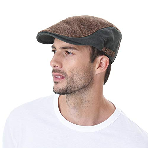 WITHMOONS Two Tone Block Summer Newsboy Hat Flat Cap AC3046 (Brown)