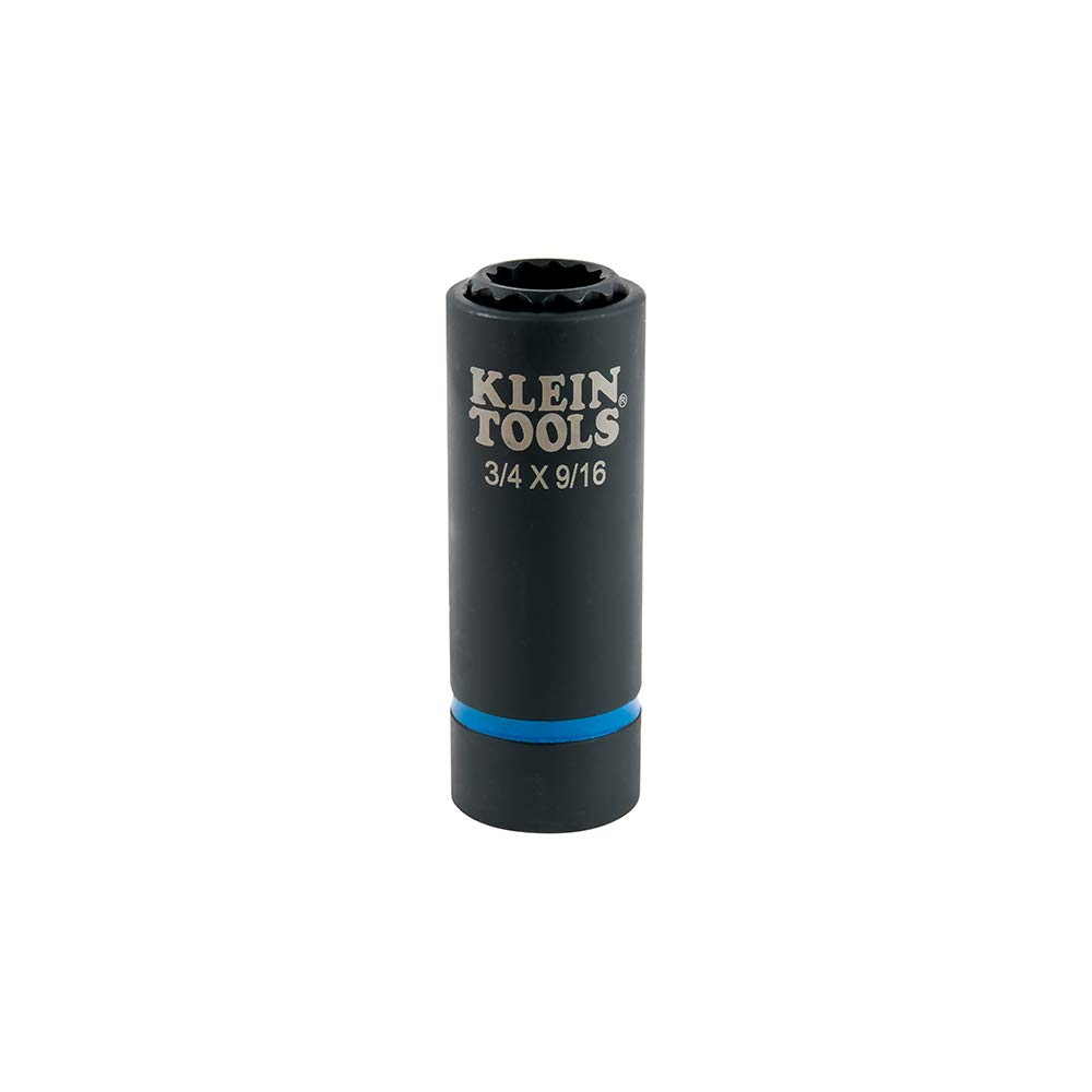 Klein Tools 66001 2-In-1 Coaxial Spring-Loaded Impact socket, 12-Point, 3/4- and 9/16-Inch by Klein Tools