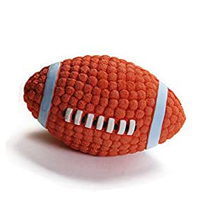 EETOYS Dog Squeaky Toys Ball Bouncing Latex Fetch Throw Rugby Football For Pet Toy