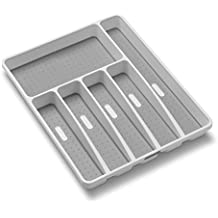 madesmart Classic Large Silverware Tray - White   CLASSIC COLLECTION   6-Compartments    Soft-grip Lining and Non-slip Feet  BPA-Free