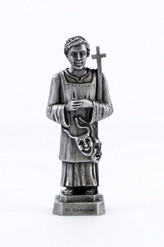 Pewter Catholic Saint St Genesius Statue with Laminated Prayer Card, 3 1/2 Inch