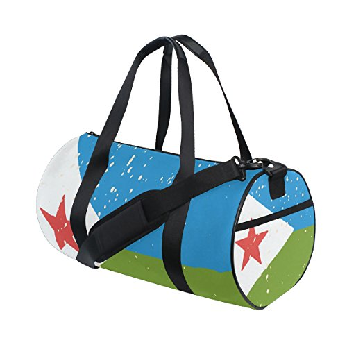 Distressed Djibouti Flag Travel Duffel Shoulder Bag ,Sports Gym Fitness Bags by super3Dprinted