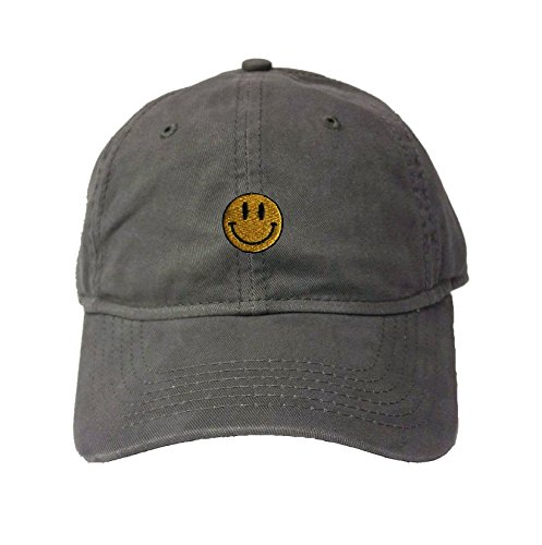 Go All Out Adjustable Charcoal Adult Smiley Face Embroidered Deluxe Dad Hat