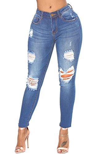 chiaro effetto Scuro hong Jeans blu strappati Blu con baron lavato qwpWBROEP