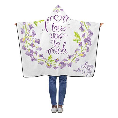 INTERESTPRINT Sweet Pea Flowers White Wearable Hooded Blanket 50 x 40 inches Toddler Kid Baby Boys Girls Polar Fleece Blankets Throw - Pea Blanket Fleece Sweet