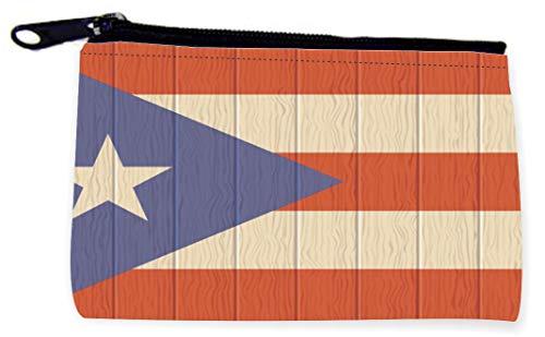 Sam Sandor - Zipper Coin Pouch - Camera Case - MP3 Case - Puerto Rico Flag on Wood Design