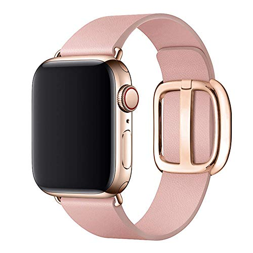 SIRUIBO Leather Band for Apple Watch 42mm 44mm Women, Modern Buckle Replacement iWatch Strap Wristband for Apple Watch Series 4 3 2 1 (Pink-Rose)