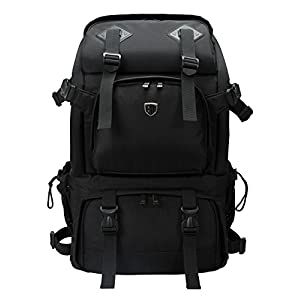 "BAGSMART Anti-theft Professional Gear Backpack for SLR/DSLR Cameras & 15"" Macbook Pro with Waterproof Rain Cover, Black"