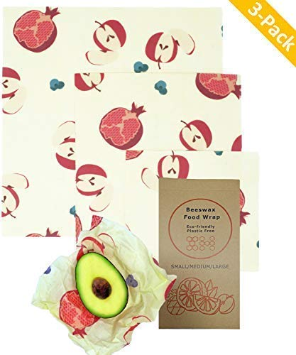 Beeswax Food Wraps - Biodegradable Natural Eco-Friendly Materials, Sustainable Reuseable Plastic Free Food Storage | Fruit Print Design (1 Small, 1 Medium, 1 Large)