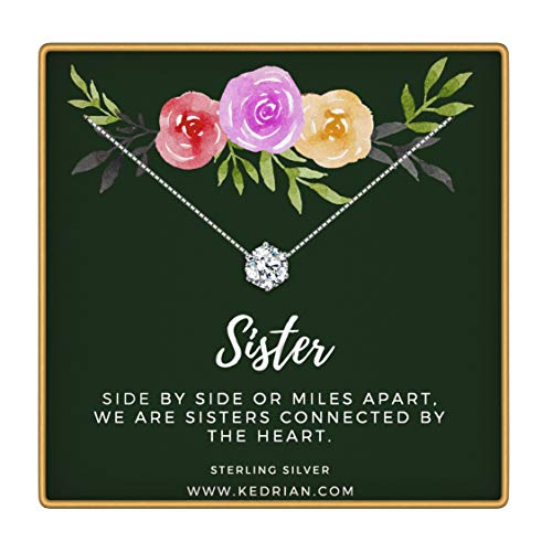 KEDRIAN Sister Necklace, 925 Sterling Silver, Big Sister Gifts, Sister Gifts for Sister, Sister Necklace, Sister Birthday Gifts, Sisters Gifts, Gift for Sister
