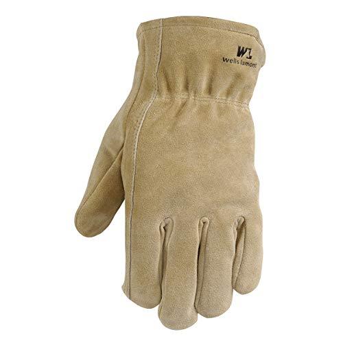 Leather Winter Work Gloves, 100-gram Thinsulate Insulation, Split Cowhide, Medium (Wells Lamont 1063M)