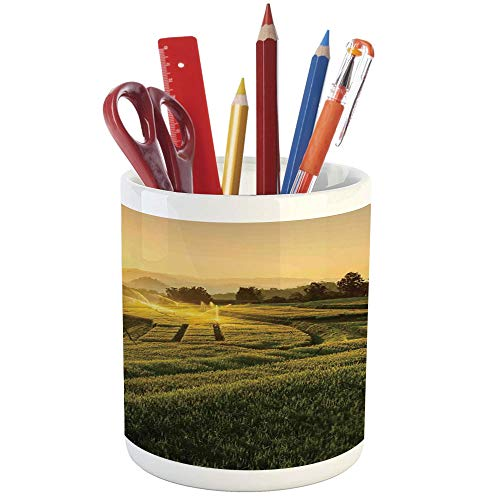 Pencil Pen Holder,Farm House Decor,Printed Ceramic Pencil Pen Holder for Desk Office Accessory,Barley Field Sunset at Samoeng Chiang Mai Thailand Asian Nature Countryside Picture
