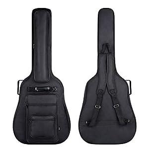 CAHAYA [Upgraded Version] 41 Inch Acoustic Guitar Bag 6 Pockets 0.3 Inch Thick Padding Waterproof Guitar Case Gig Bag Multi-pockets Guitar Bag