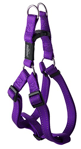 ROGZ Reflective Adjustable Dog Step in Harness for Extra Large Dogs; Matching Collar and Leash Available, Purple