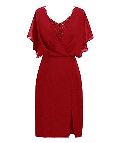 Bourgogne Courte En Mousseline De Soie De Femmes Botong Mère De La Robe De Mariée Robe Courte De Bal Rouge Foncé