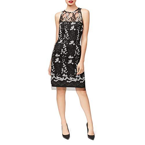 Betsey Johnson Women's Sleevless Embroidered Sheath Dress, Black/White 4 - Evening Johnson Betsey