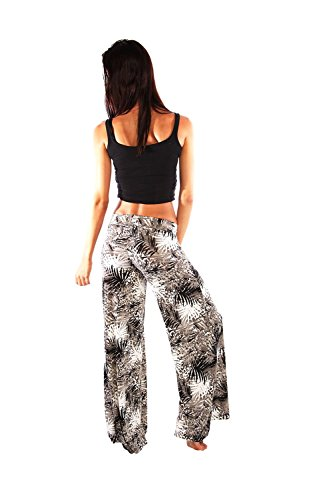 Ingear cintura alta pantalones largos de la mujer Black-Leaves