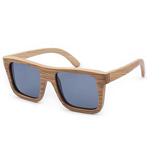 polarizado madera de cuadradas mano de los alta sol TAC hecho retro la de Protección la madera de sol Lente calidad Gafas UV de de Gafas de cebra gris sol de Gafas conducción a hombres Retro de de la qfPFaf