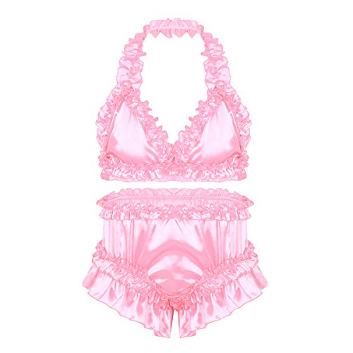 ACSUSS Sissy Men's Frilly Satin Ruffled Bra Top Panties Halter Bikini Lingerie Nightwear Set Pink X-Large