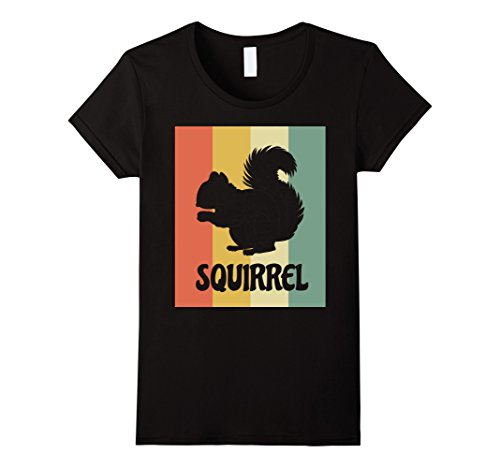 Womens Squirrel Silhouette Shirt - Retro Vintage Classic Squirrel T Large Black (Zombie Squirrel)