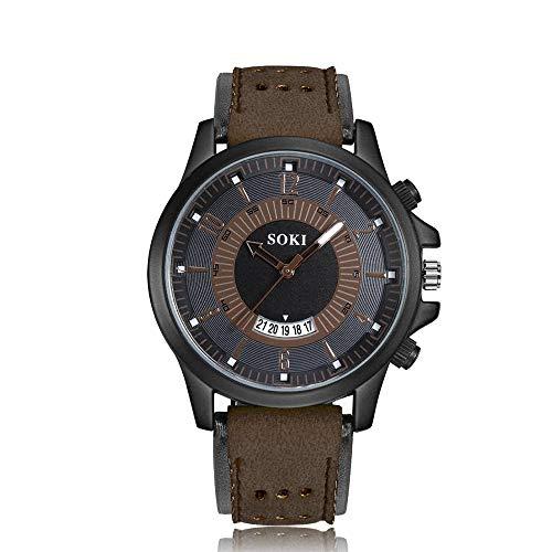 Mens Quartz Analog Wrist Watch, MmNote Luxury Fashion Silica Gel Leather Glass Quartz Analog Date Watches(Brown) ()