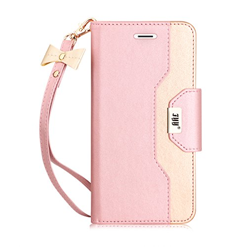 FYY Leather Case with Mirror for iPhone 8 Plus/iPhone 7 Plus, Leather Wallet Flip Folio Case with Mirror and Wrist Strap for iPhone 8 Plus/iPhone 7 Plus Rose Gold+Gold