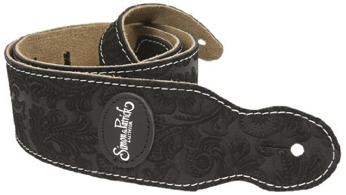 Godin Guitars 037124 Guitar Strap, S & P Black Paisley Suede with Patch Logo ()