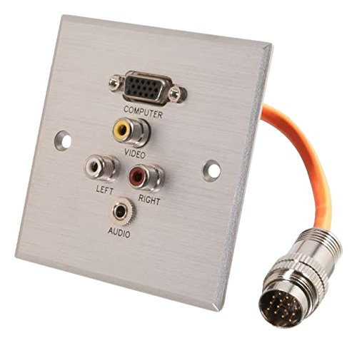 RapidRun[R] Single Gang Integrated VGA (HD15) + 3.5mm + RCA Audio/Video Wall Plate - Brushed Aluminium