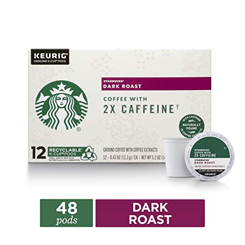 Starbucks Dark Roast Coffee K-Cups with 2X Caffeine | Coffee Pods for Keurig Brewers | 4 Boxes (48 Pods)
