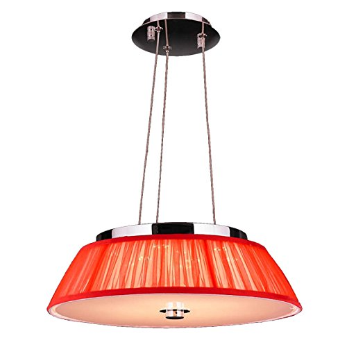 Brilliance Lighting and Chandeliers Euro Style 6-light Chrome Finish LED with Red String Shade 16-inch Wide Modern Pendant
