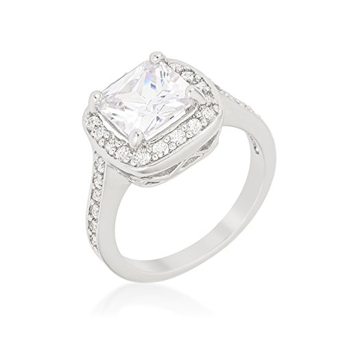 Rhodium Plated Halo Style Engagement Ring with Cushion Cut Center Zircon and Round Cut Cubic Zirconia,5 from Kate Bissett
