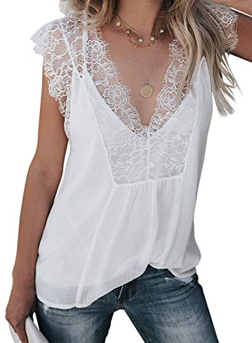 Shawhuwa Blouses for Women Elegant Crochet Lace Casual Sleeveless Loose Fitting Tunic Shirts V Neckline Cami Vest White S Crochet Trim V-neck Top