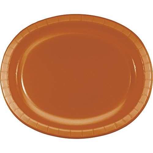 Club Pack of 96 Glittering Gold Pumpkin Spice Disposable Oval Paper Plates 12