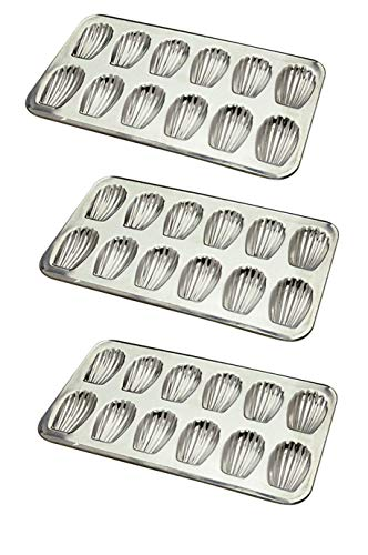GOBEL 164710 {15.5''x 8''} - TIN Madeleines 12 holes - SET OF 3 - [ GREAT VALUE! ] by Gobel