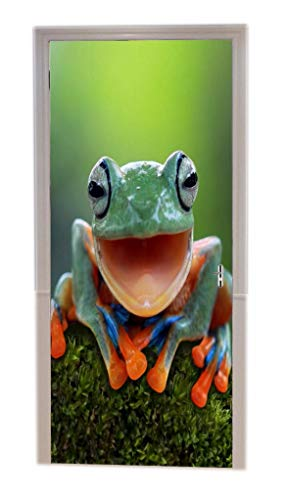 A.Monamour Portrait of A Tree Frog with Mouth Open Smiling Sitting On Moss Animal Lovers Decors Print Vinyl Room Door Decals Wallpaper Wall Murals Removable Door Stickers Posters Art Decors