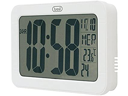 Trevi Digital Wall Clock, Plastic, White