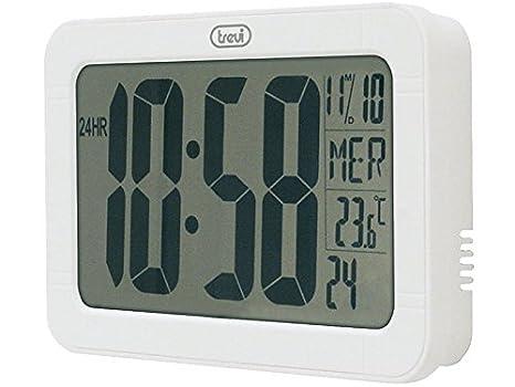 Trevi 3328 - Reloj digital de 23 cm x 14,5 cm con calendario y termómetro - Pantalla LCD extra grande – Color blanco