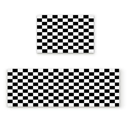 2 Piece Non-Slip Kitchen Mat Runner Rug Set Doormat Simple Black and White Checkered Flag Door Mats Rubber Backing Carpet Indoor Floor Mat(15.7